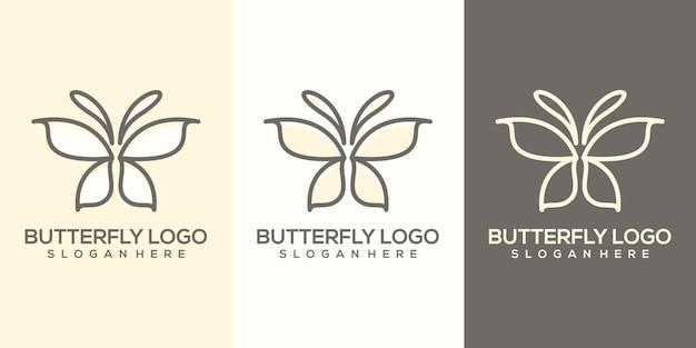 Modelo de logotipo feminino abstrato de borboleta