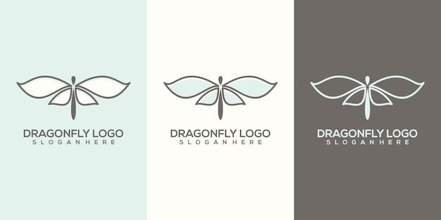 Modelo de logotipo feminino abstrato de libélula