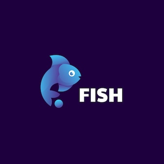 Modelo de logotipo fish gradient colorful style