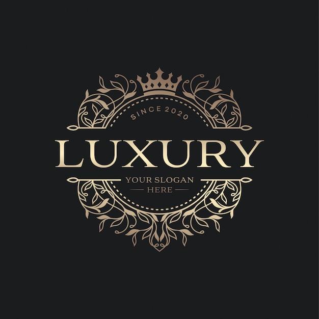Modelo de logotipo floral círculo heráldico de luxo em vetor para restaurante, realeza, boutique, café, hotel, jóias, moda e outros