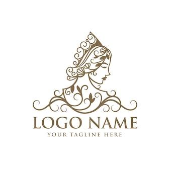 Modelo de logotipo floral da rainha da beleza