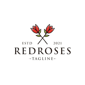 Modelo de logotipo floral de duas rosas