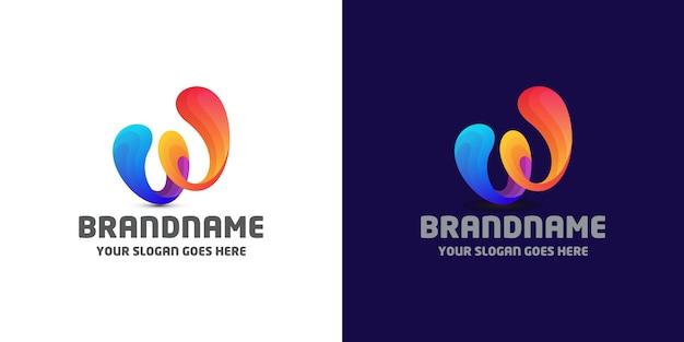 Modelo de logotipo fluido letra w