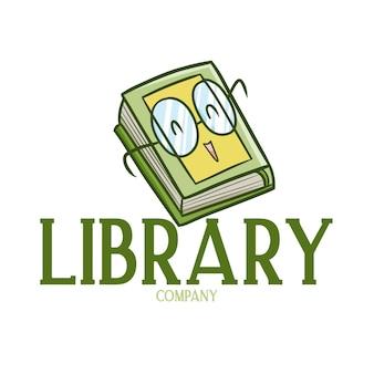 Modelo de logotipo fofo e engraçado para empresa de bibliotecas