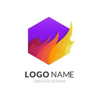 Modelo de logotipo fogo e hexágono, estilo de logotipo moderno em cores gradientes vibrantes