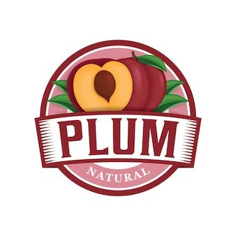 Modelo de logotipo fresco de fazenda de ameixa