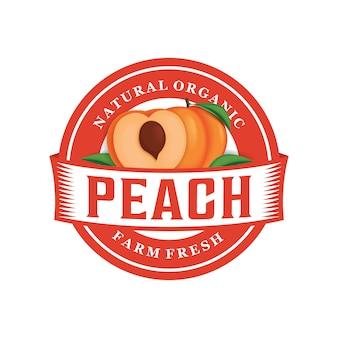 Modelo de logotipo fresco fazenda pêssego