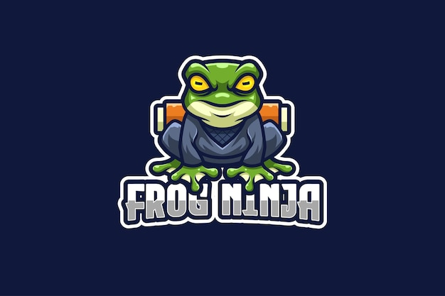 Modelo de logotipo frog ninja e-sport