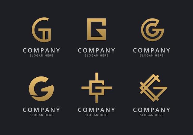 Modelo de logotipo g iniciais com uma cor dourada para a empresa