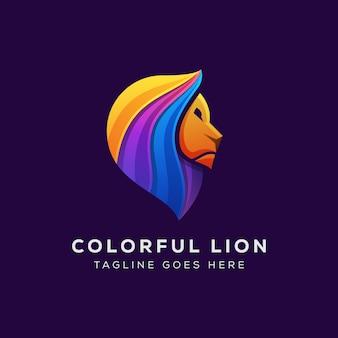 Modelo de logotipo geométrico leão colorido