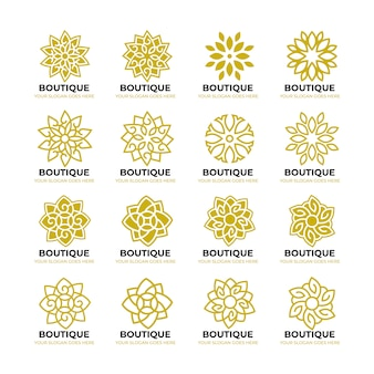 Modelo de logotipo geométrico natureza flor