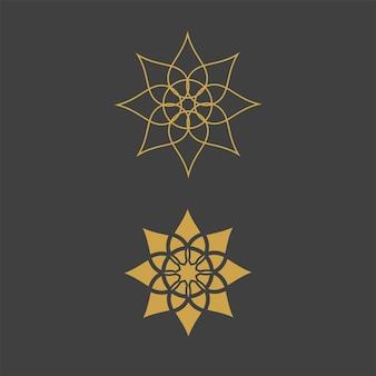 Modelo de logotipo geométrico. símbolos ornamentais árabes circulares vetoriais