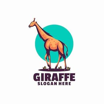 Modelo de logotipo girafa isolado no branco