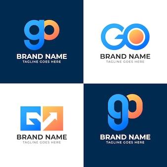 Modelo de logotipo go em gradiente