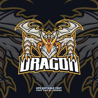Modelo de logotipo gold dragon mascot
