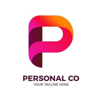 Modelo de logotipo gradiente 3d colorido letra p