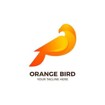 Modelo de logotipo gradiente 3d orange bird dove