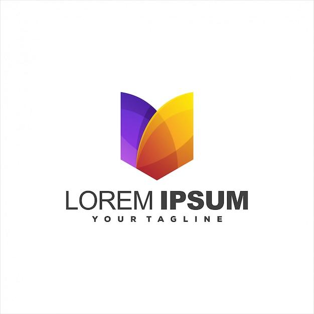 Modelo de logotipo gradiente abstrato impressionante