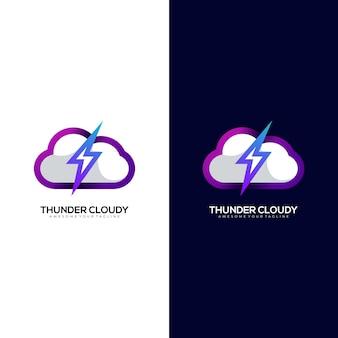 Modelo de logotipo gradiente colorido nublado com trovão