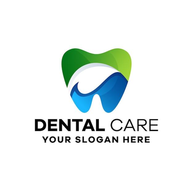 Modelo de logotipo gradiente colorido para atendimento odontológico