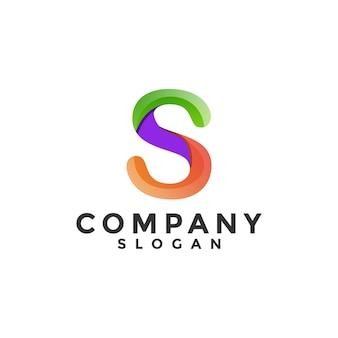 Modelo de logotipo gradiente com letra s colorida