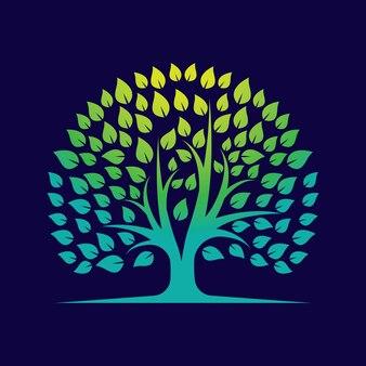 Modelo de logotipo gradiente de árvore