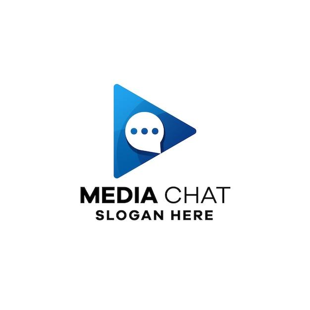 Modelo de logotipo gradiente de bate-papo de mídia