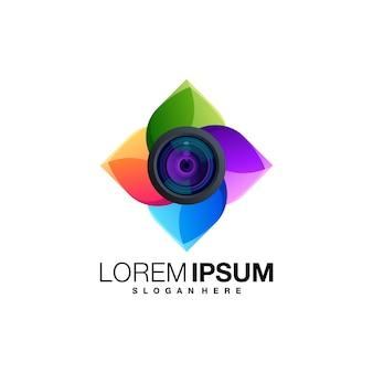 Modelo de logotipo gradiente de câmera de lente