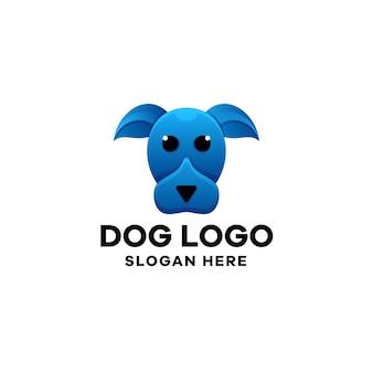 Modelo de logotipo gradiente de cão