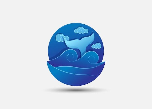 Modelo de logotipo gradiente de cauda de baleia azul. ilustração vetorial