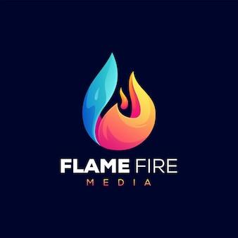 Modelo de logotipo gradiente de chamas de fogo