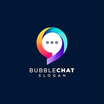Modelo de logotipo gradiente de chat de bolhas