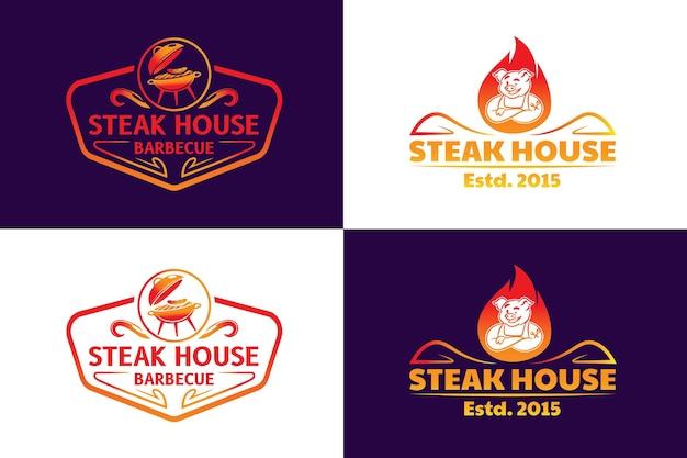 Modelo de logotipo gradiente de churrasco