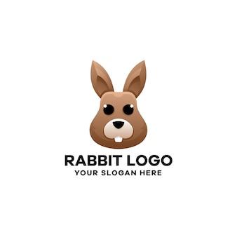 Modelo de logotipo gradiente de coelho