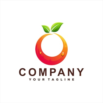 Modelo de logotipo gradiente de cor de fruta