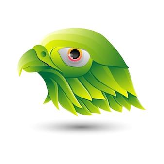 Modelo de logotipo gradiente de cor verde pássaro