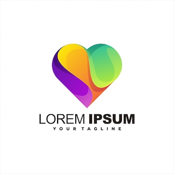 Modelo de logotipo gradiente de coração impressionante