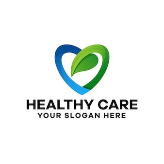 Modelo de logotipo gradiente de cuidados saudáveis