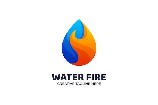 Modelo de logotipo gradiente de energia de água e fogo