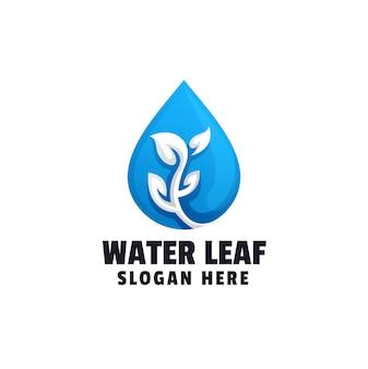 Modelo de logotipo gradiente de folha d'água