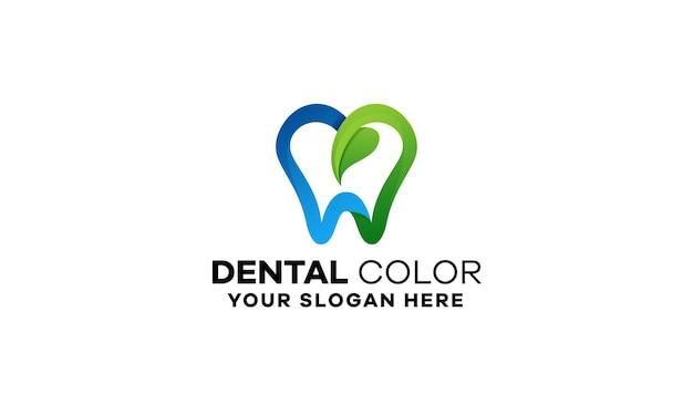 Modelo de logotipo gradiente de folha dentária