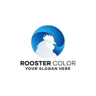 Modelo de logotipo gradiente de galo