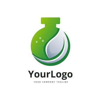 Modelo de logotipo gradiente de garrafa química