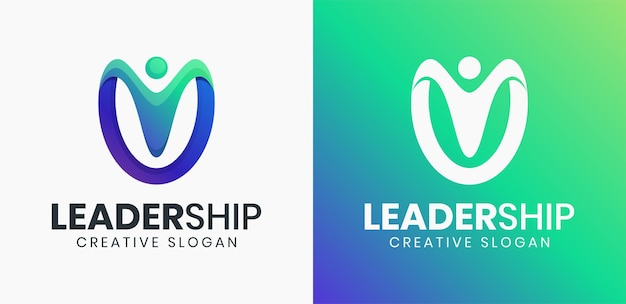 Modelo de logotipo gradiente de líder de pessoas abstratas