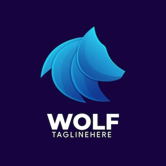 Modelo de logotipo gradiente de lobo elegante