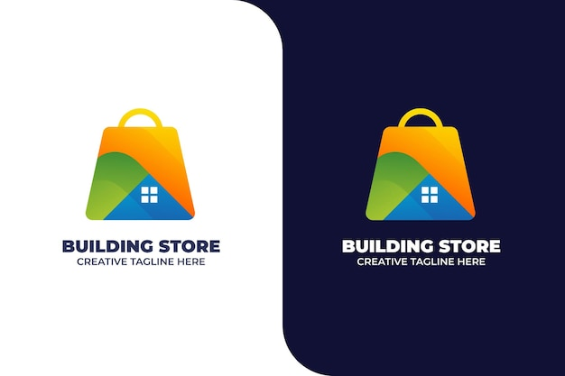 Modelo de logotipo gradiente de loja de construção residencial