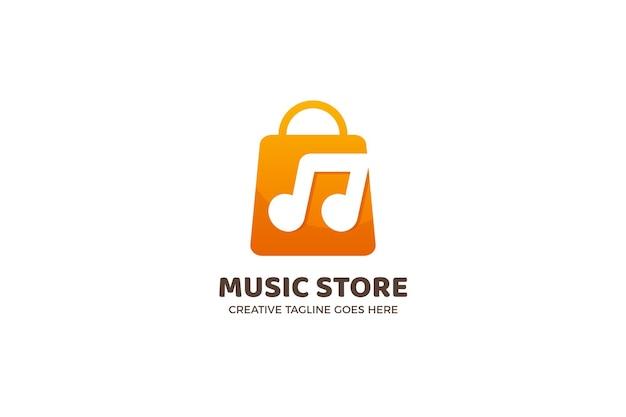 Modelo de logotipo gradiente de loja de música