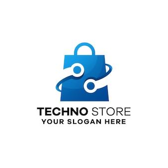 Modelo de logotipo gradiente de loja de tecnologia