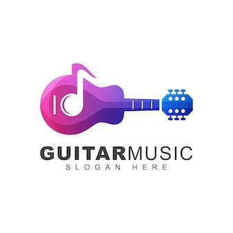 Modelo de logotipo gradiente de nota de música de guitarra cor moderna