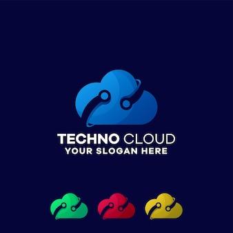 Modelo de logotipo gradiente de nuvem de tecnologia